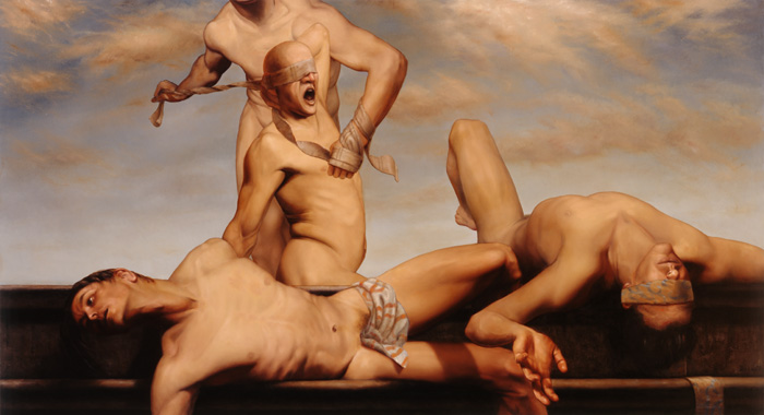 see no evil - oil on linen - 36 x 66 inch