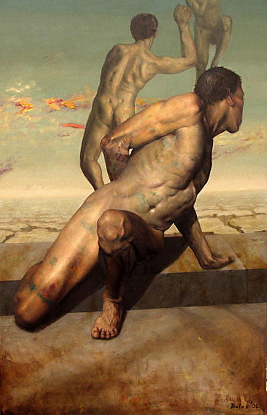 figurative paintings, watcher, oil on linen, 36 x 66 by Alekasander Balos