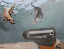 distort me dog – oil on wood – 24 x 33 inch