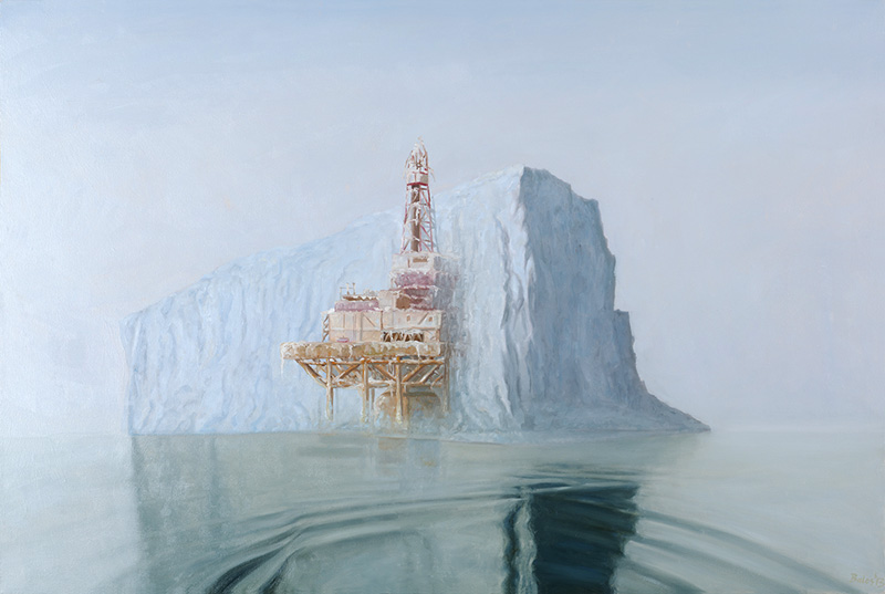 Contemporary Painting, Offshore Iceberg, 36 x 54 oil painting on canvas