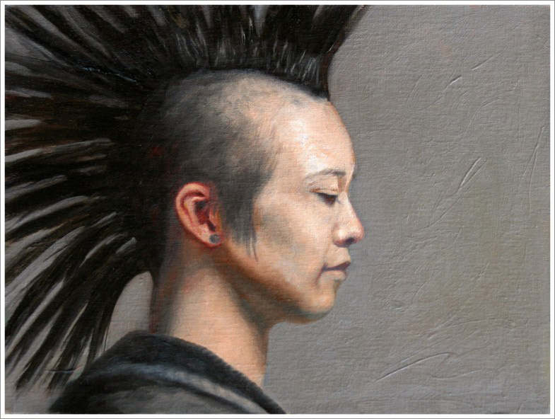 punk hair, figurative oil painting