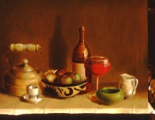 caravaggio's table – 12 x 8 oil on wood
