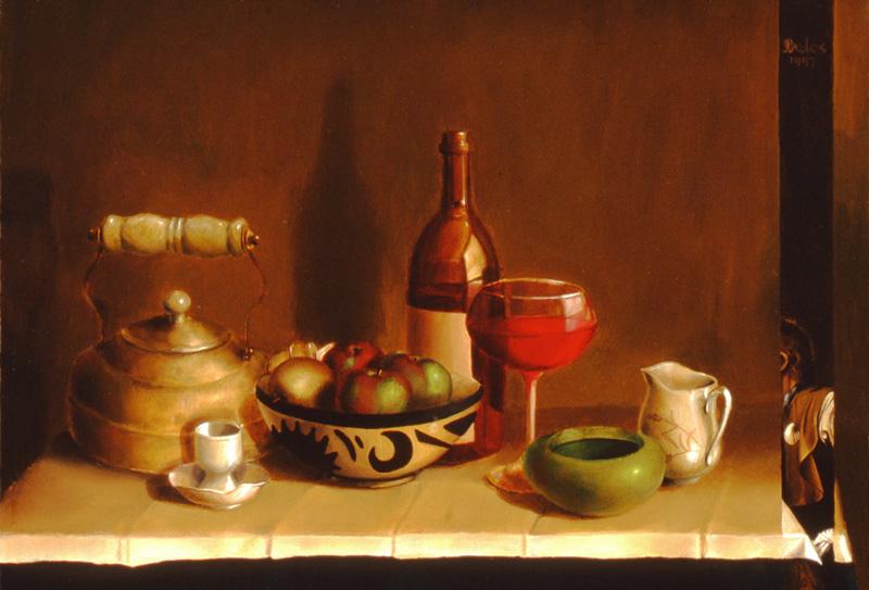 caravaggio's table - 12 x 8 oil on wood